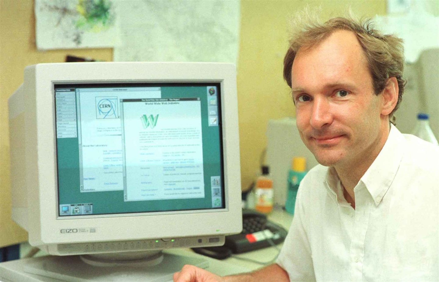 Berners-Lee in 1994 with his web browser.